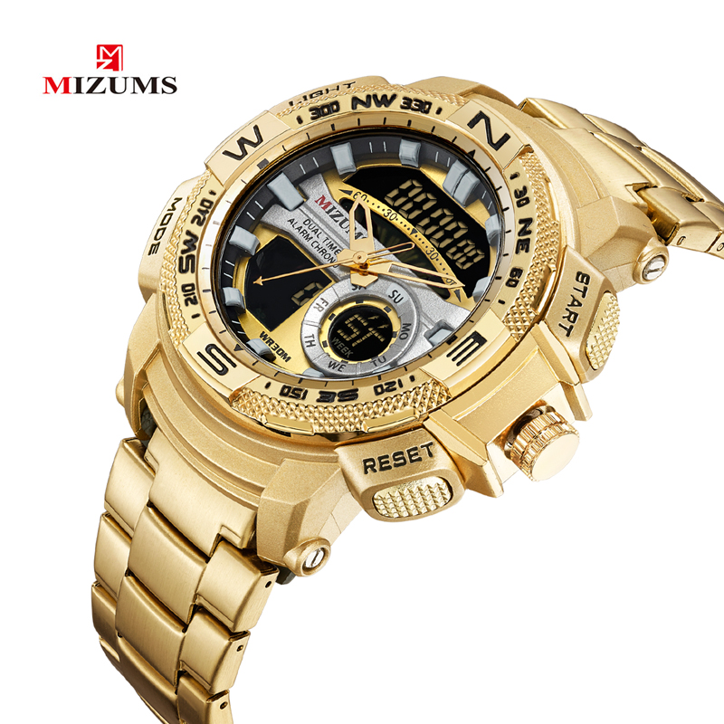 2019 cool big case golden steel band bracelet quartz watches for men led digtial sports watches mens wristwatches dual time zones military style clock man drop shipping (35)