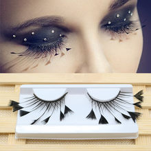 a8b3b7f1410 Black Feathers Thick 3D Creative False Eyelashes Stage Cosplay Art  Performance Dance Exaggerated Eyelash Makeup Tools