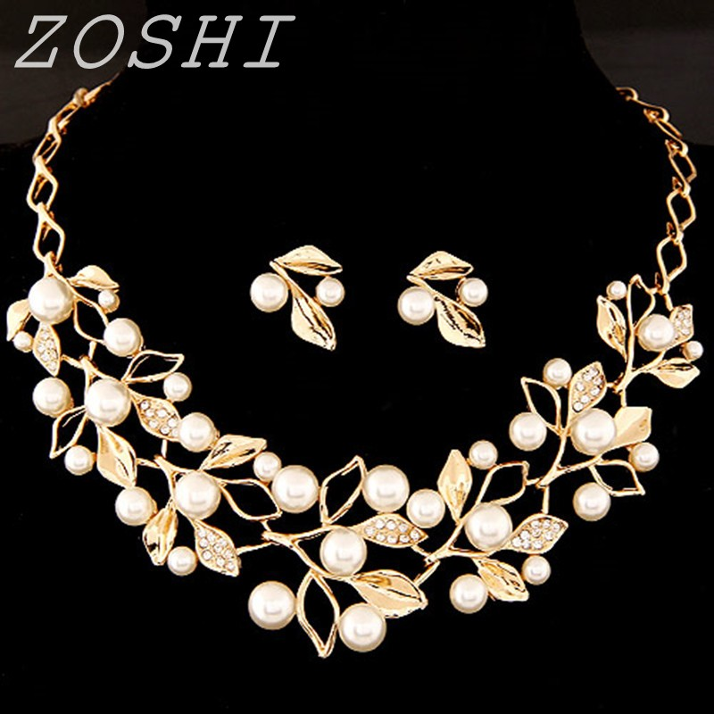 Zoshi Sweet Style Imitation Pearl Beaded Crystal Leaf Gold