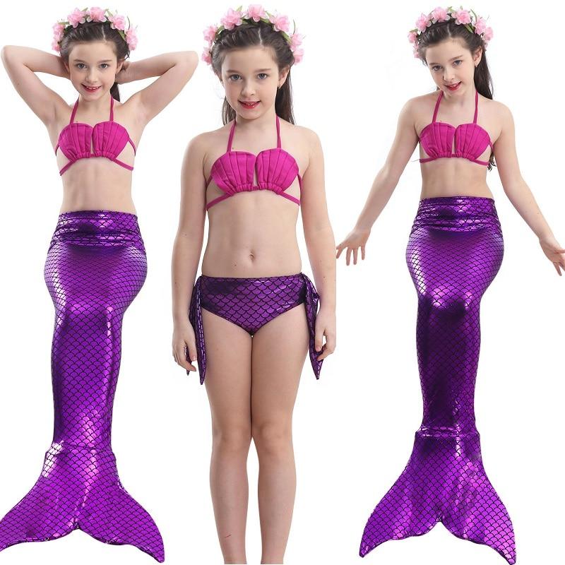 2019 Hot Ariel Children's Mermaid Tail Cosplay Kids for Girls Split Swimwear Swimmable Bikini Bathing