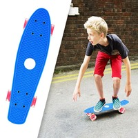 OUTAD 2018 NEW Mini Portable Plastic Skate Board Four Wheels Fish Skateboard Scooter Cruiser Brush Street