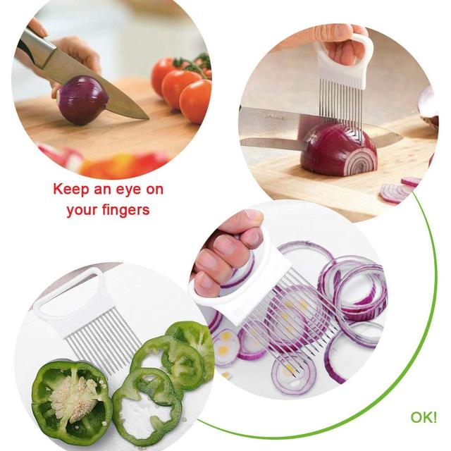 Onion Holder Stainless Steel Vegetable Cutter Slicer Gadget 3