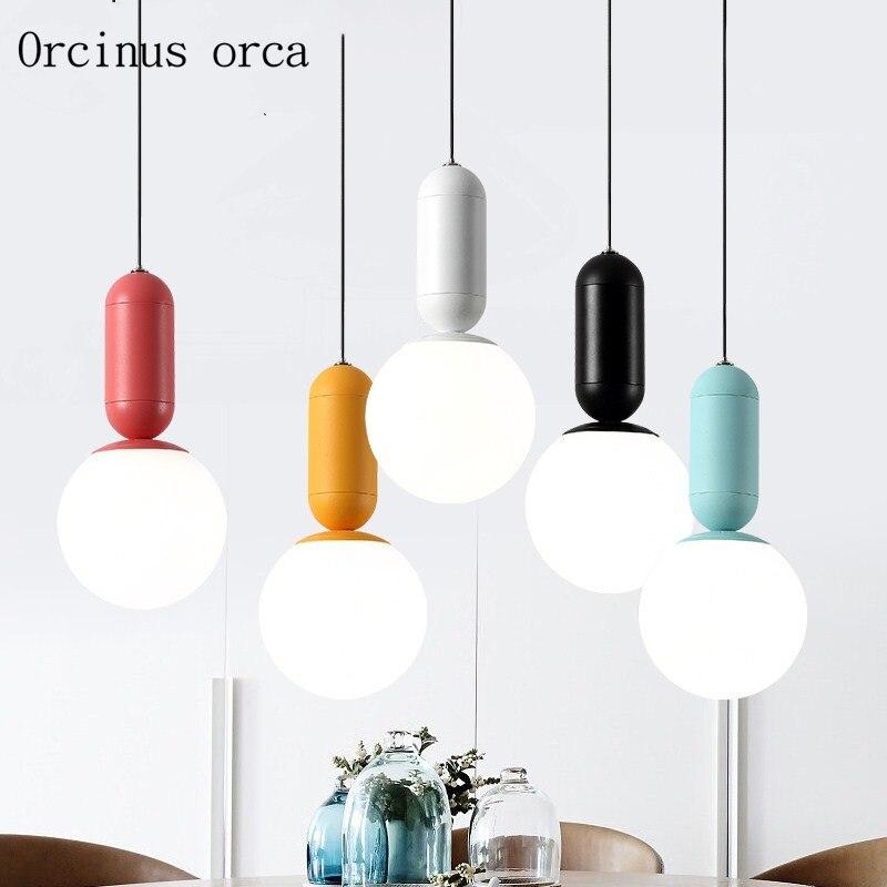 Nordic Minimalist Creative Coloured Lamp Chandelier Living Room Bar Corridor Modern Personality Single Head LED Chandelier