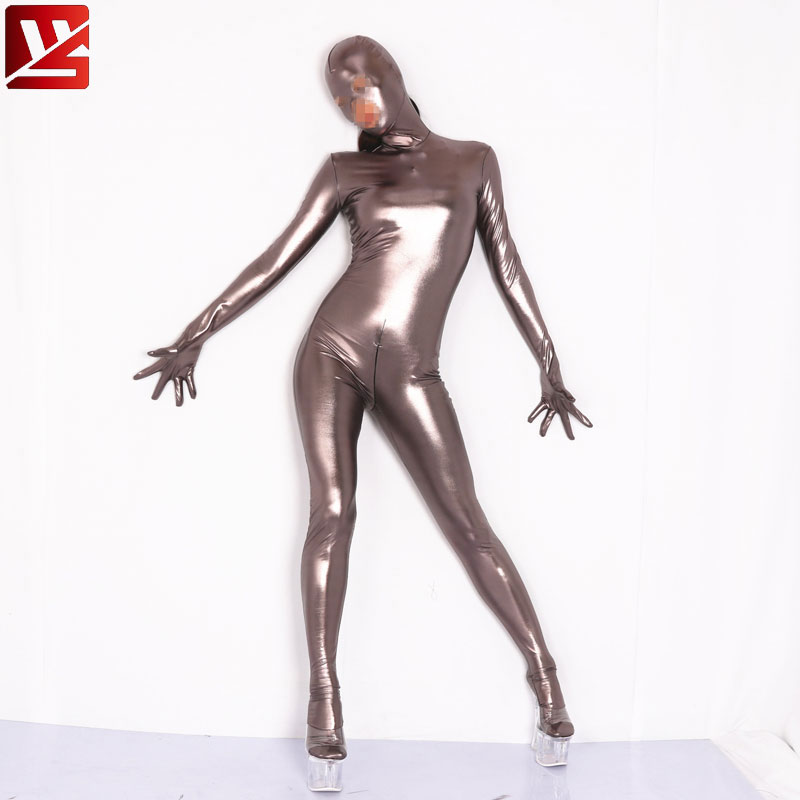 Cosplay Full Body PU Faux Leather Shiny Leotard Bodysuit Zipper Open Crotch Elastic Bodysuit Moto & Biker Club Wear Plus Size 60