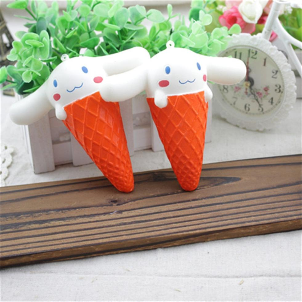 Ice Cream Squishy adorable animal Slow Rising Squeeze Phone Straps Ballchains Toys Decoration Adults relieve stress
