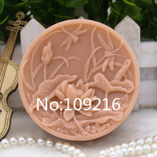 New Product!!1pcs Lotus and Dragonfly (zx284) Food Grade Silicone Handmade Soap Mold Crafts DIY Mould