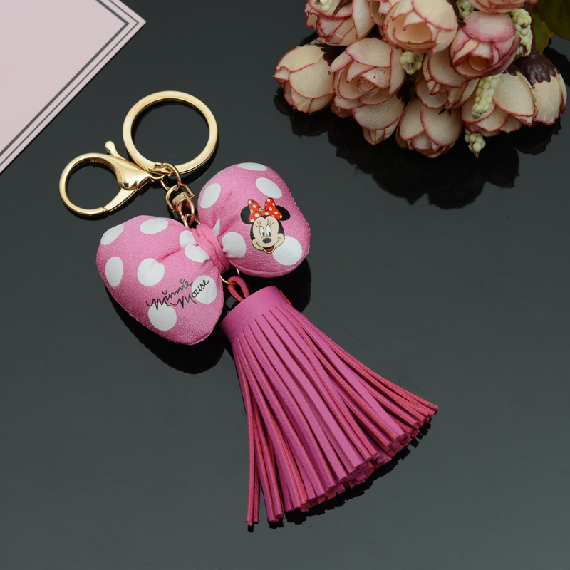 Felyskep PU Leather Tassels With Mickey Picture Bowknot KeyChain With Tassels For Bag Key Ring Car Key Ring Jewelry A818WA metal ring tassels colour block tote bag