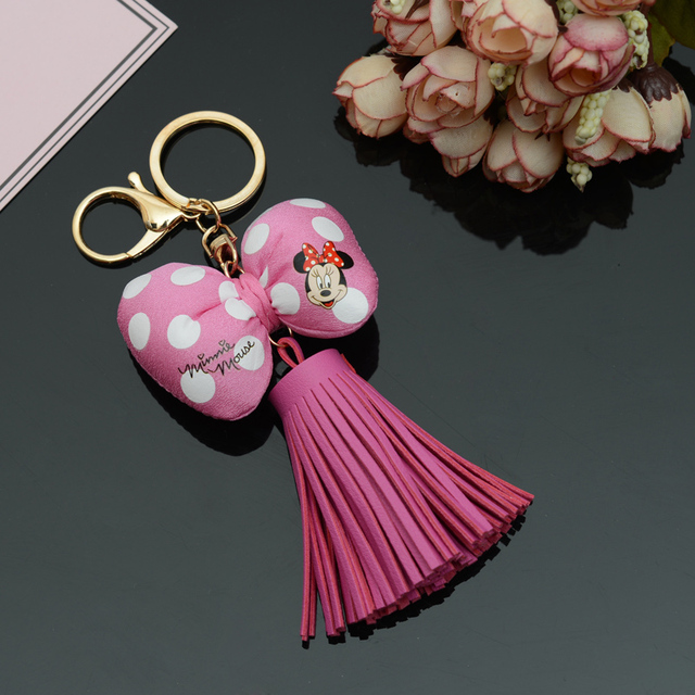 Felyskep PU Leather Tassels With Mickey Picture Bowknot KeyChain With Tassels For Bag Key Ring Car Key Ring Jewelry 241WA