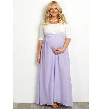86364ff12 Plus tamaño Chiffon Vestidos de maternidad las mujeres embarazadas ropa  larga recta de embarazo Vestidos Gravidas ropa de la madre
