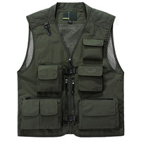 Summer new male vest quick drying mesh multi pocket photography fishing reporter outdoor large size vest