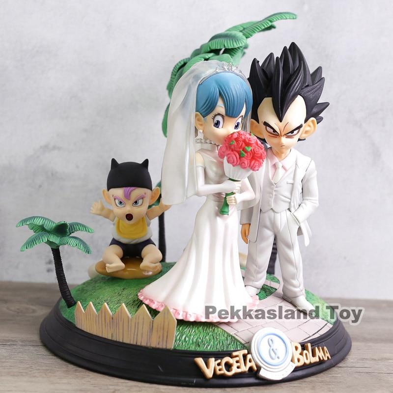 Anime Dragon Ball Z Vegeta Bulma Baby Trunks Wedding Day Vegeta Family Figure Model Toys 22cm