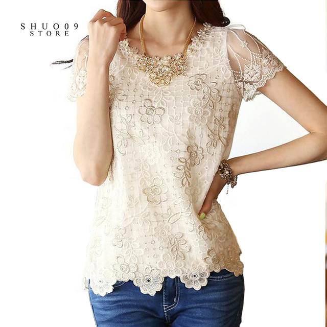 2018 Spring Autumn Women Fashion Lace Floral Patchwork Blouse Long Sleeve Shirts Hollow Out Casual Tops Plus Size XXL Pullovers 3