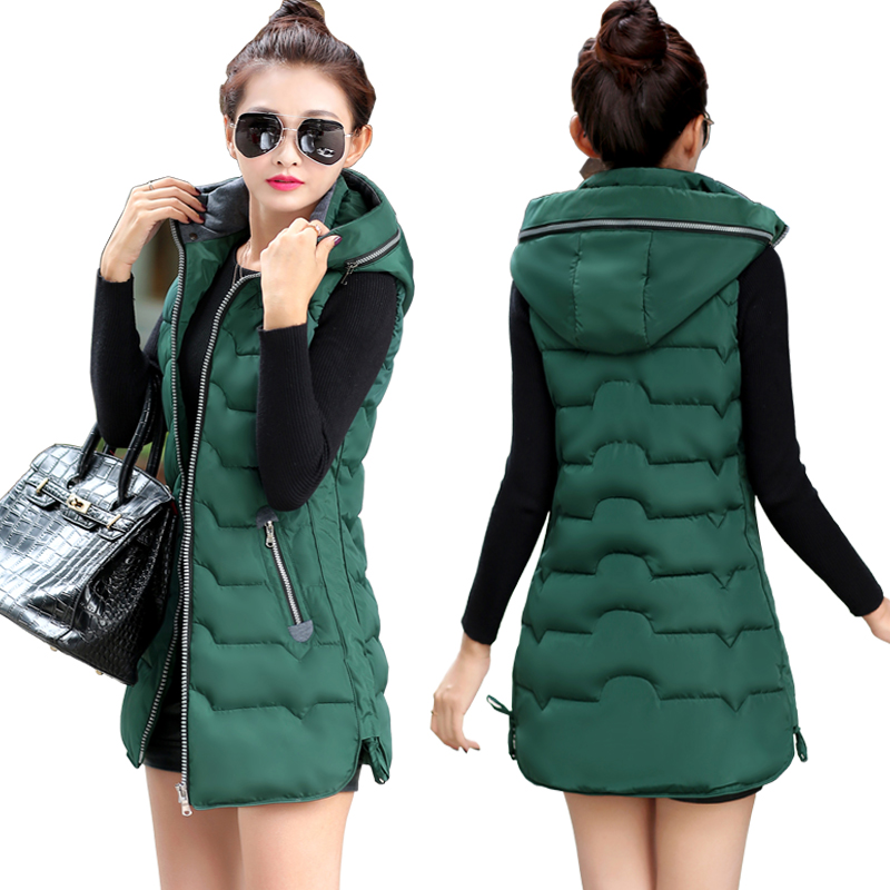 Plus Size 5XL Vest Women Clothing 2017 New Hooded Waistcoat Jacket Coat Long Slim Thickening Warm