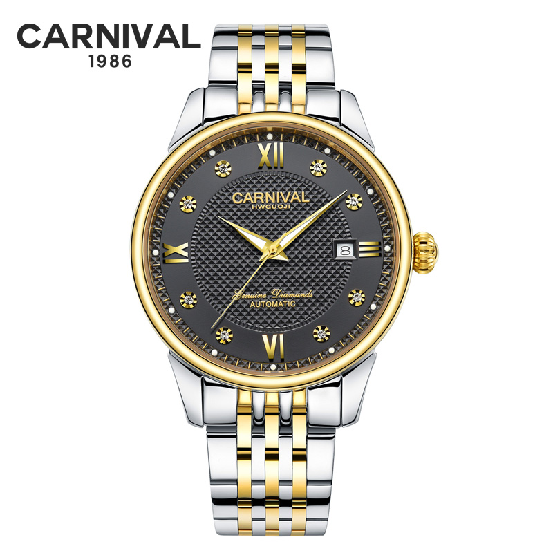 Carnival Men Automatic Watch Brief With Rhinestone Date Luxury Mechanical Watch Simple Business Watch