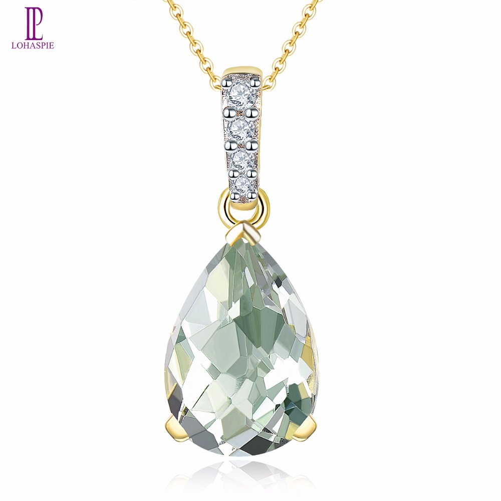 Natural Green Amethyst Yellow Gold Wedding Pendant Diamond Solid 14K Natural Gemstone Fine Fashion Stone Jewelry Gift Lohaspie lohaspie ocean party natural sapphire pendant solid 9k yellow gold mother of pearl starfish fine fashion stone pearl jewelry new