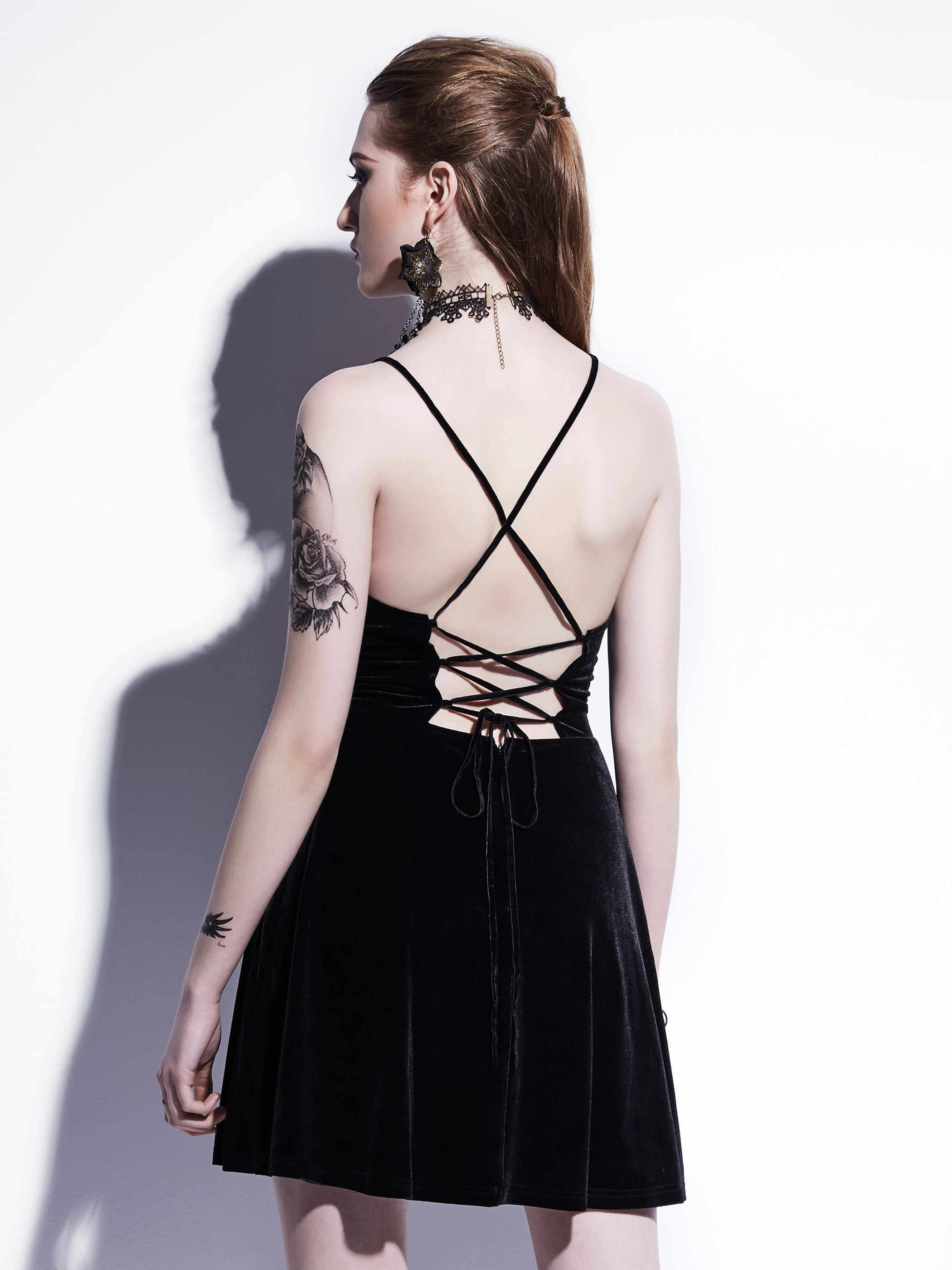 f8553f6128f ... Gothic Mini Dress 2018 Black Summer Women Sexy Short Dress Velvet  Backless Lace-Up Spaghetti ...