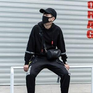 Image 2 - Nuova Moda di Strada di Tendenza Punk Completa Del Nero Del Manicotto Nastri Degli Uomini Con Cappuccio Felpe Con Cappuccio Hip Hop Autunno Allentato Maschio Felpe Streetwear