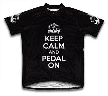 Houd Kalm en Pedaal Op Mannen Wielertrui Korte Mouw fiets jerseys ropa ciclismo 5 Kleur
