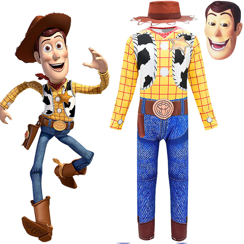 Toy Story 3 Talking Woody Cosplay Clothing Jumpsuit  Mask Hat 3pcs Sets Children Christmas Gift Halloween Costumes