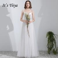 It's YiiYa Wedding Dress Spaghetti Straps V neck Pregnant White Bridal Gowns Tie Bow Lace Up Floor Length wedding dresses G004