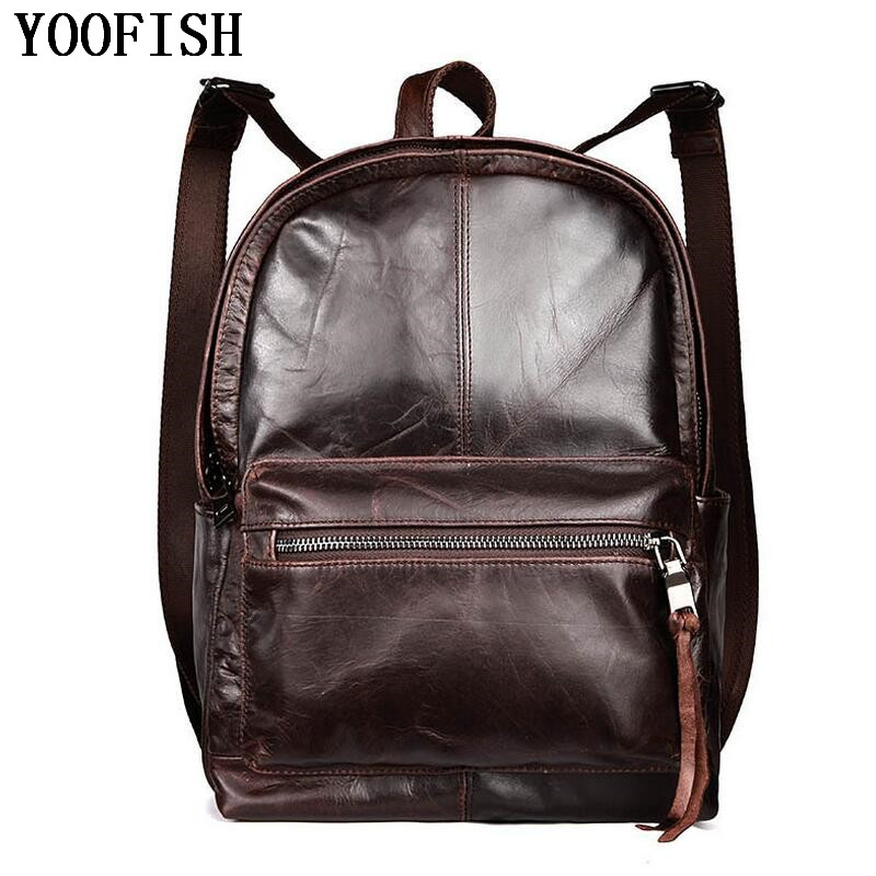 YOOFISH Genuine Leather Men Backpack Large Capacity Man Travel Bags High Quality Trendy Business Bag For Man Leisure Bag men bag genuine leather backpack large capacity man travel bag mountaineering backpack high quality male luggage shoulder bag