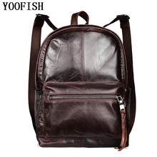 YOOFISH  Genuine Leather Men Backpack Large Capacity Man Travel Bags High Quality Trendy Business Bag For Man Leisure Bag