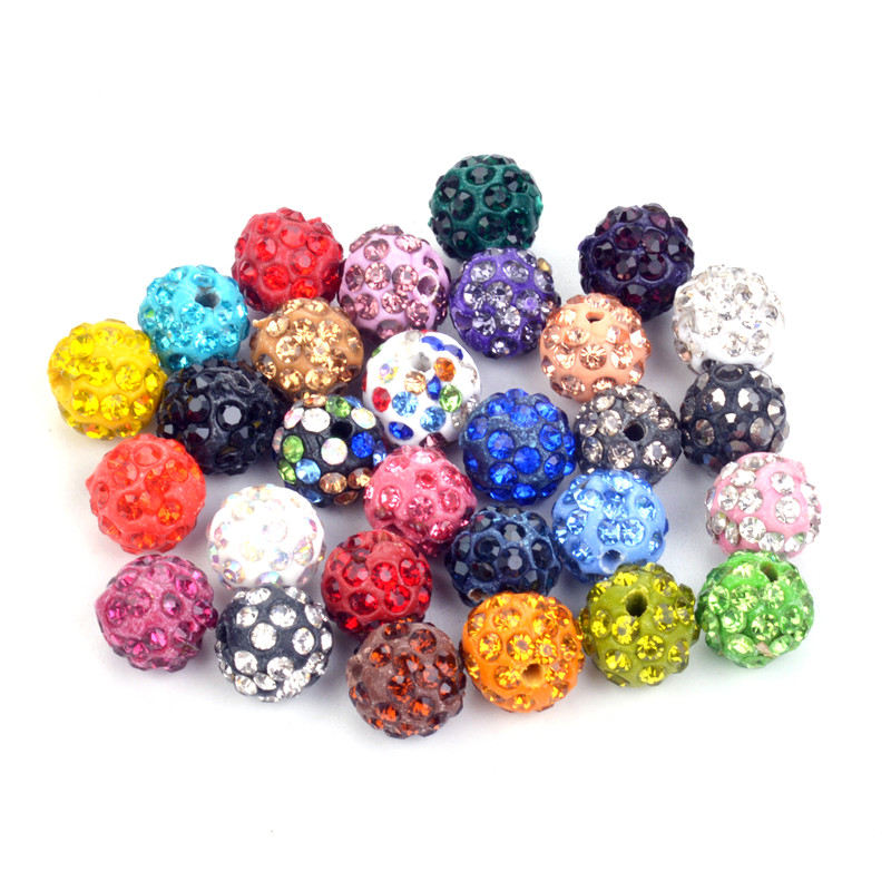 50pcs 10mm Mixed Color Shamballa Beads Crystal Disco Ball Beads Shambhala Spacer Beads 5 Row Crystal Clay Beads Great Varieties Beads