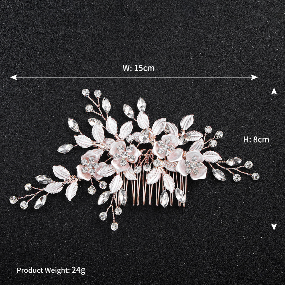 d4e2f7aaa Jonnafe Rose Gold Floral Leaf Bridal Hair Comb Pins Set Hand wired Crystal Wedding  Hair Jewelry. артикул: 32910446436