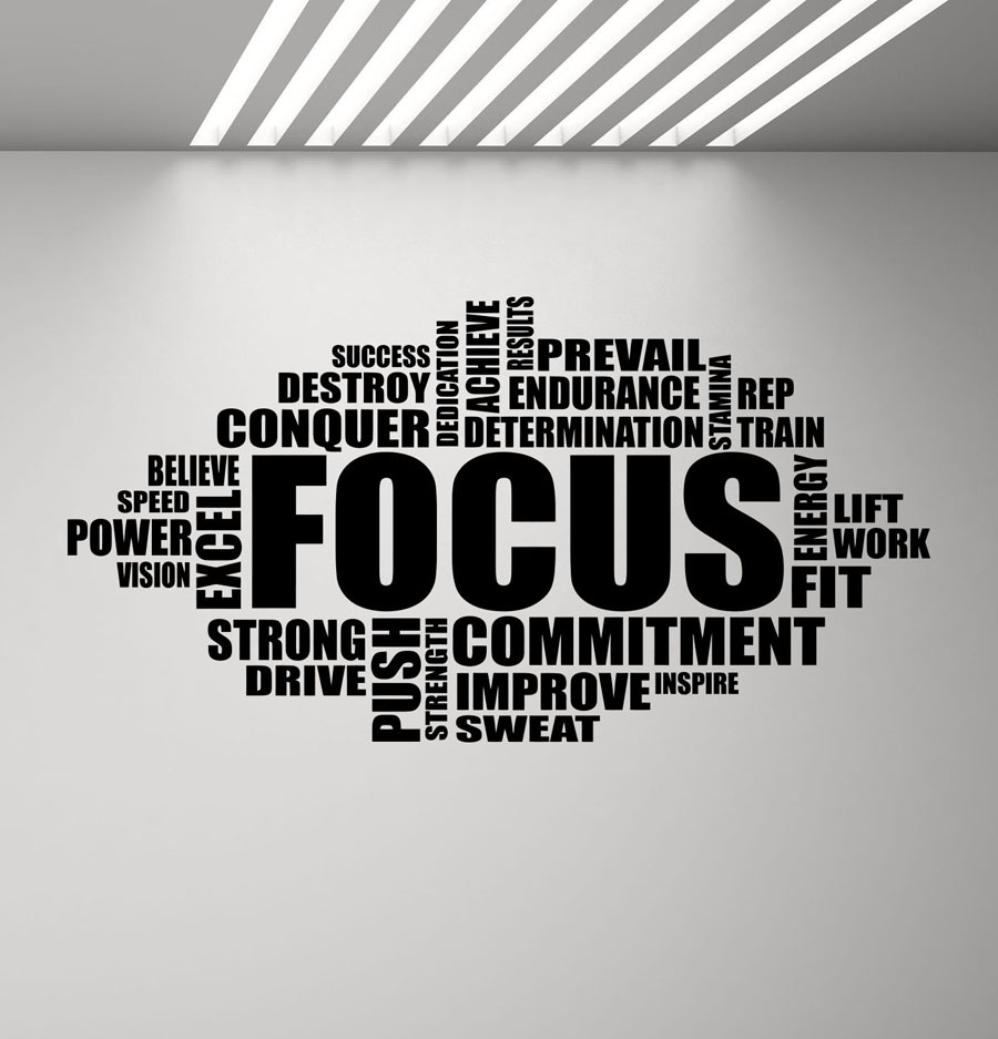"Focus Gym Workout Fitness Vinyl Wall Decal 8/"" x 32/"""