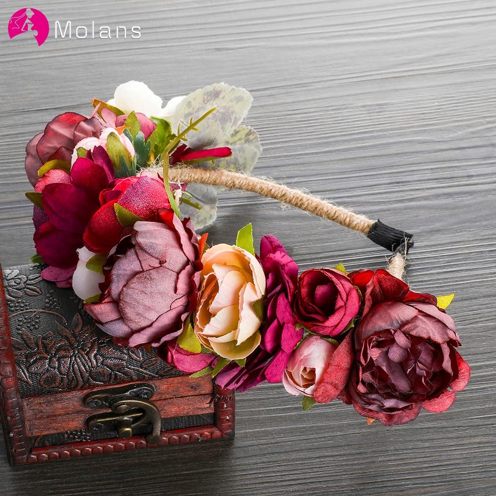 MOLANS Wedding Accessories Bridal Flower Crown Handmade Hemp Rope Winding Hair Garland Exquisite Theme Portraits Headpiece