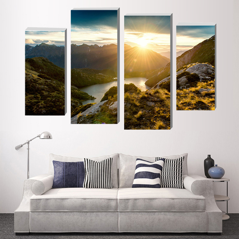 4 pieces panel canvas art landscape oil painting pictures on the wall modern art painting decor in Painting Calligraphy from Home Garden