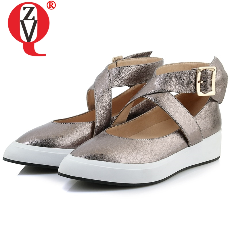 ZVQ women ankle buckle flats women pointed toe genuine leather shallow spring shoes woman new style