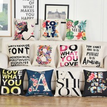 Flower Plant Cushion Covers Love Summer Letters Pillow Girl Style Pillowcases 45*45cm Lovers Romantic