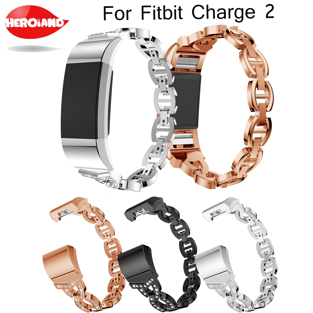 Crystal Stainless Steel Watch Band Wrist strap Smart Wristband Bracelet Wearable Belt Strap with Rhinestone For Fitbit charge 2Crystal Stainless Steel Watch Band Wrist strap Smart Wristband Bracelet Wearable Belt Strap with Rhinestone For Fitbit charge 2