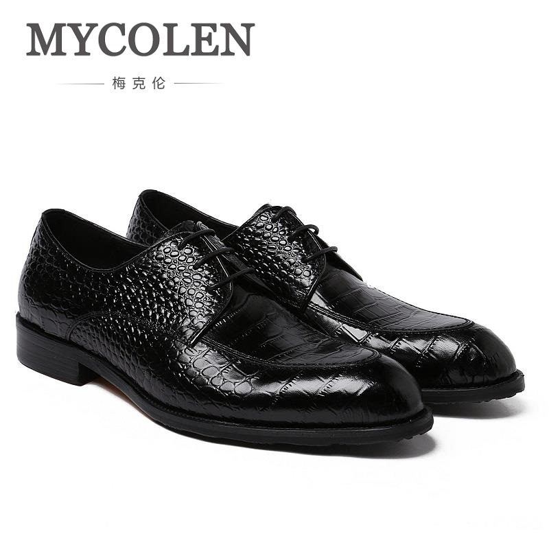 MYCOLEN New Luxury Men Dress Shoes In Men's Oxford Patent Leather Business Formal Shoes Men's Leather Wedding Shoes Derby Homme mycolen luxury 2018 newest patent leather shoes men formal business flat shoes lace up men derby wedding shoes sepatu pria