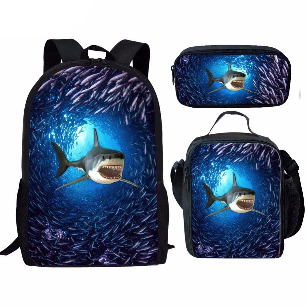 Customized Children School Bags Set For Girls Boys Shark Dolphins Schoolbag Kids Primary School Backpack Kids Satchel Mochila