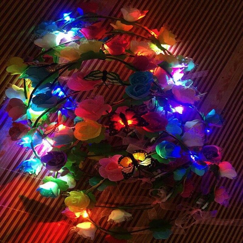 Streng Vrouwen Girl Boho Vlinder Bloem Led Knippert Hoofdband Garland Licht Krans Glow Party Kerst Navidad Bruiloft Decoratie Met Een Langdurige Reputatie