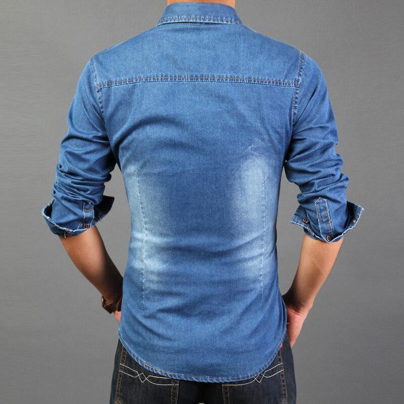1e40f3e481 Brand shirt 2015 famous design men blue jean shirt mens denim slim fit long  sleeve dress shirts 2 colors 3xl-in Casual Shirts from Men s Clothing on ...