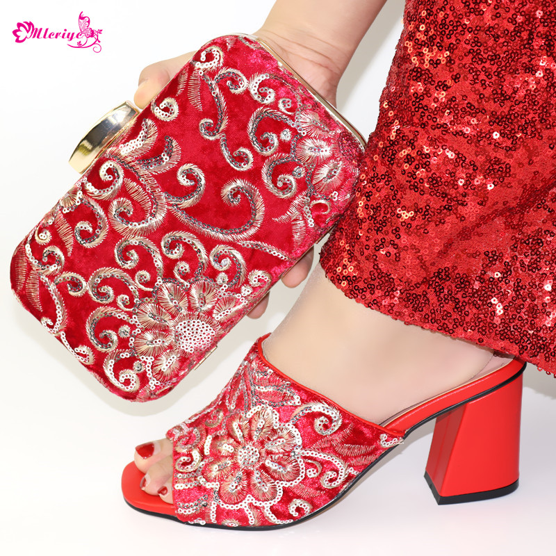 High Quality Lady Sandals Wedding Shoes And Bag Set African Sets 2019 Red Color Italian Shoe Bag Set Decorated With Rhinestone