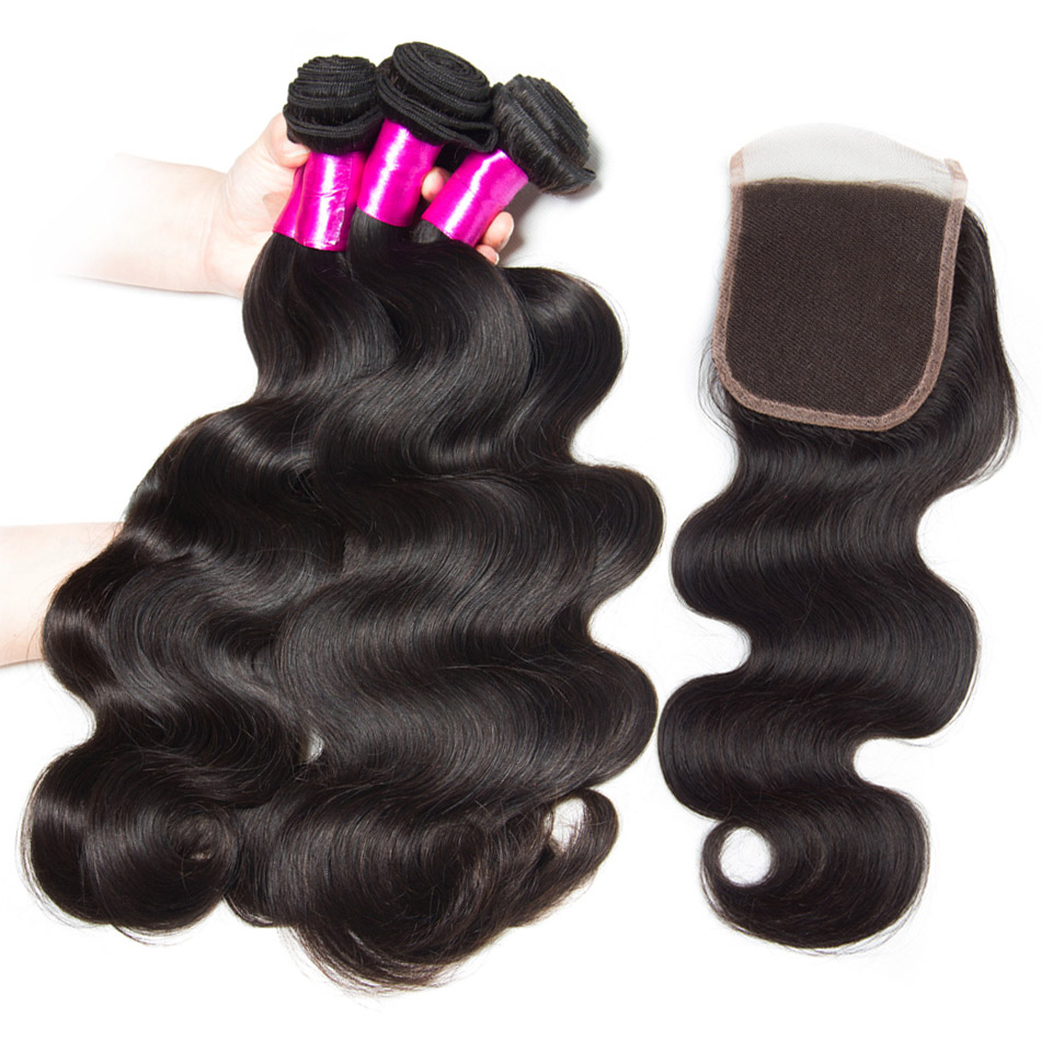 ALIBELE Body Wave Bundles With Closure Natural Remy Human Hair 4 3 Bundles With Lace Closure