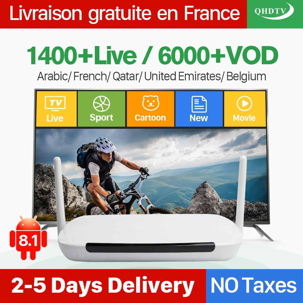 Q9 Android 8.1 IPTV Frankreich Arabisch Box mit Französisch Belgien IPTV Arabisch Frankreich Live IPTV-Abonnement 1 Jahr QHDTV IP-TV-Kanäle