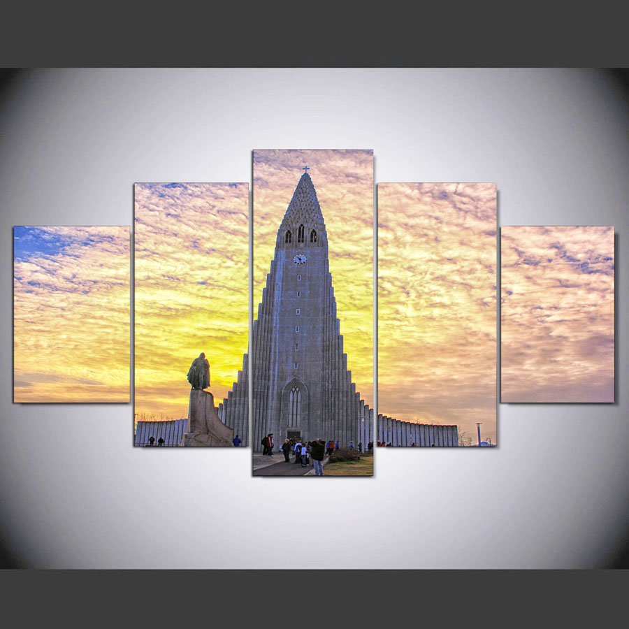 Poster Large HD Printed Painting Canvas Frame 5 Panel Church Print ...