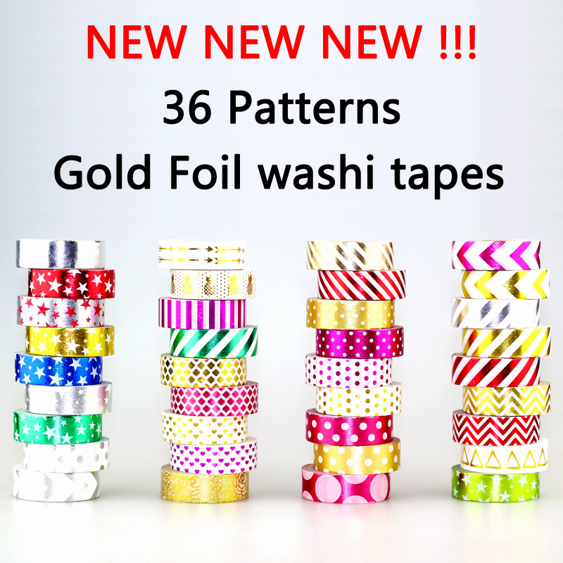 NEW 1pc 15mm*10m Xmas Gold Foil Washi Tape Print Scrapbooking DIY Sticker Deco Japanese Masking Tape Lot 10m