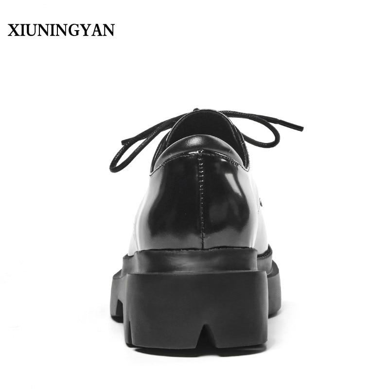 Talón Xiuningyan Up Redonda Ocasional Encaje De Vaca Superstar Mujeres Zapatos Aumento Primavera Preppy Negro Grueso 2018 Toe Estilo Cuero Pisos rRvFqrO