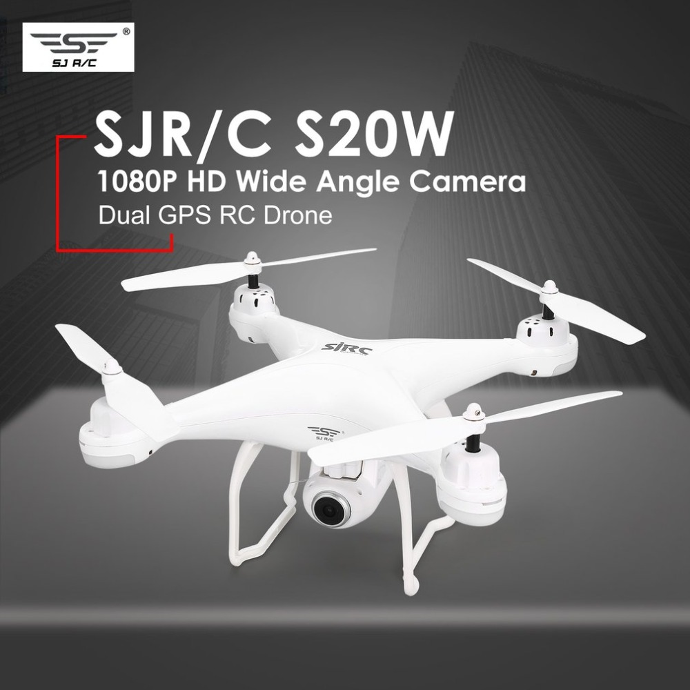 SJ R/C S20W FPV 720P 1080P Camera Selfie Altitude Hold Drone Headless Mode Auto Return Takeoff/Landing Hover GPS RC QuadcopterSJ R/C S20W FPV 720P 1080P Camera Selfie Altitude Hold Drone Headless Mode Auto Return Takeoff/Landing Hover GPS RC Quadcopter