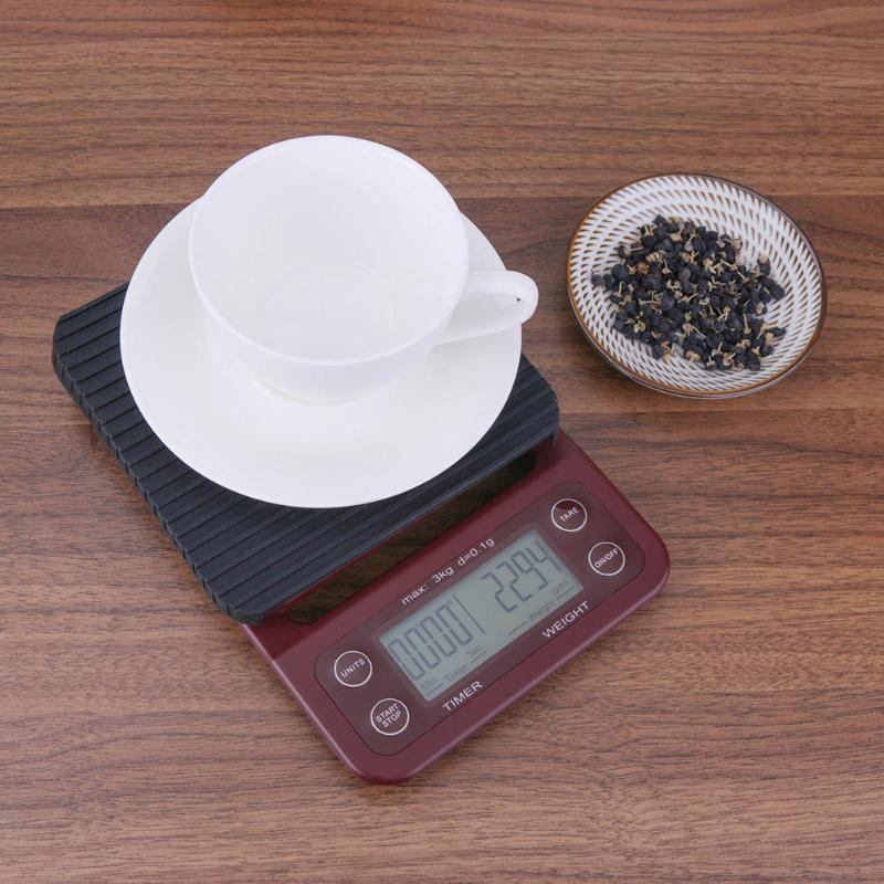 Portable 3kg 0.1g Drip Coffee Scale With Timer Electronic Digital Kitchen Scale New Design High Precision LCD Electronic Scales dfl 3x6 inch flameless real wax pillar electronic led candle with timer with embossed gold pearl