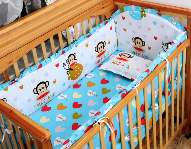 Promotion! 6PCS Baby Cot Crib Bedding Set Baby Bumper Free Shipping ,include(bumper+sheet+pillow cover) promotion 6pcs baby bedding set cot crib bedding set baby bed baby cot sets include 4bumpers sheet pillow