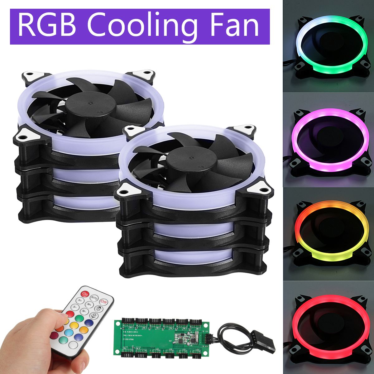 Hot 6pcs Computer Case PC Cooling Fan RGB Adjust LED 120mm Quiet + IR Remote New computer Cooler Cooling RGB Case Fan For CPU personal computer graphics cards fan cooler replacements fit for pc graphics cards cooling fan 12v 0 1a graphic fan