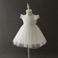 WUJIAL Summer Baby Princes Fashion Wedding Birthday Party Tutu Dresses Cute Kids Flower Chiffon Lace Sleeveless