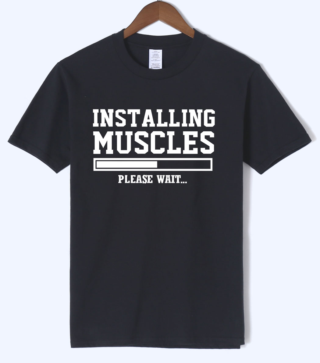 Men's T-shirts summer 2019 printed INSTALLING MUSCLES funny T-shirt fashion brand clothing crossfit t shirt men homme fitness
